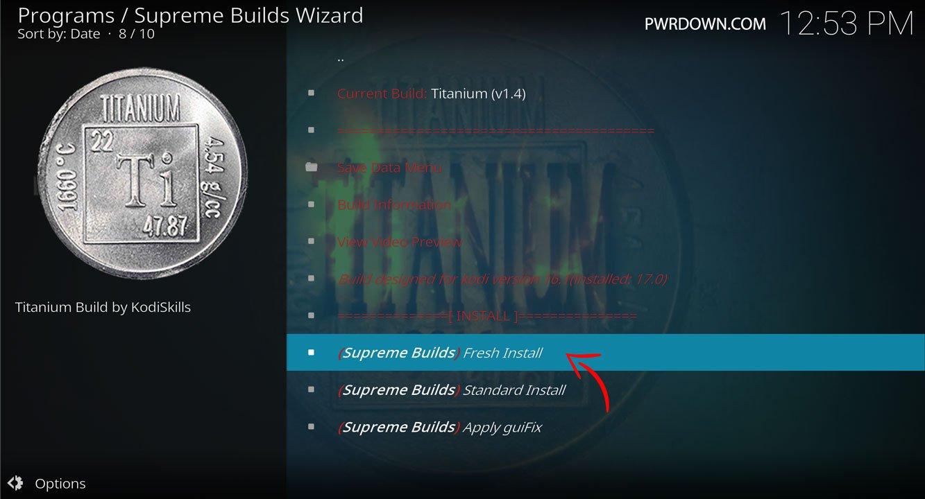 how to update titanium build on kodi