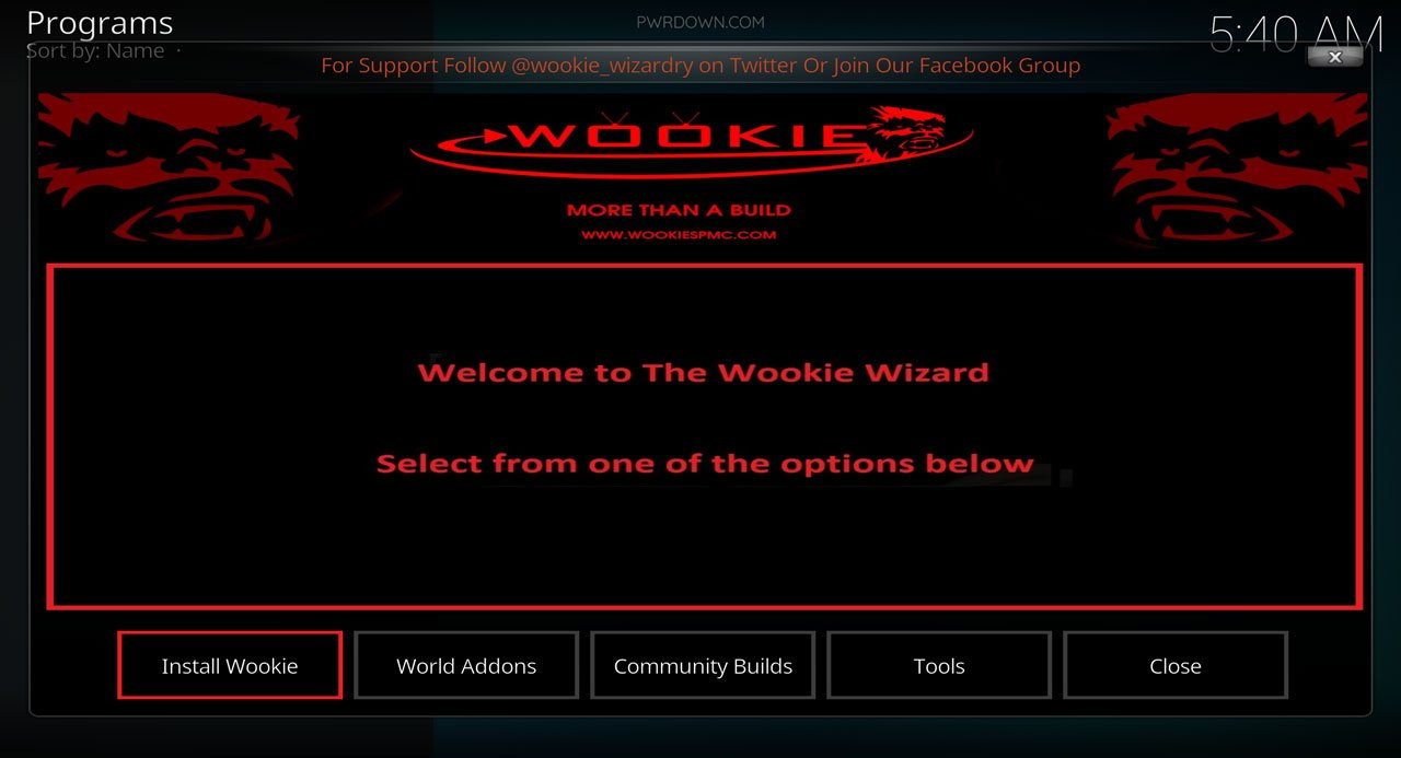 Kodi Wookie build installation part 9