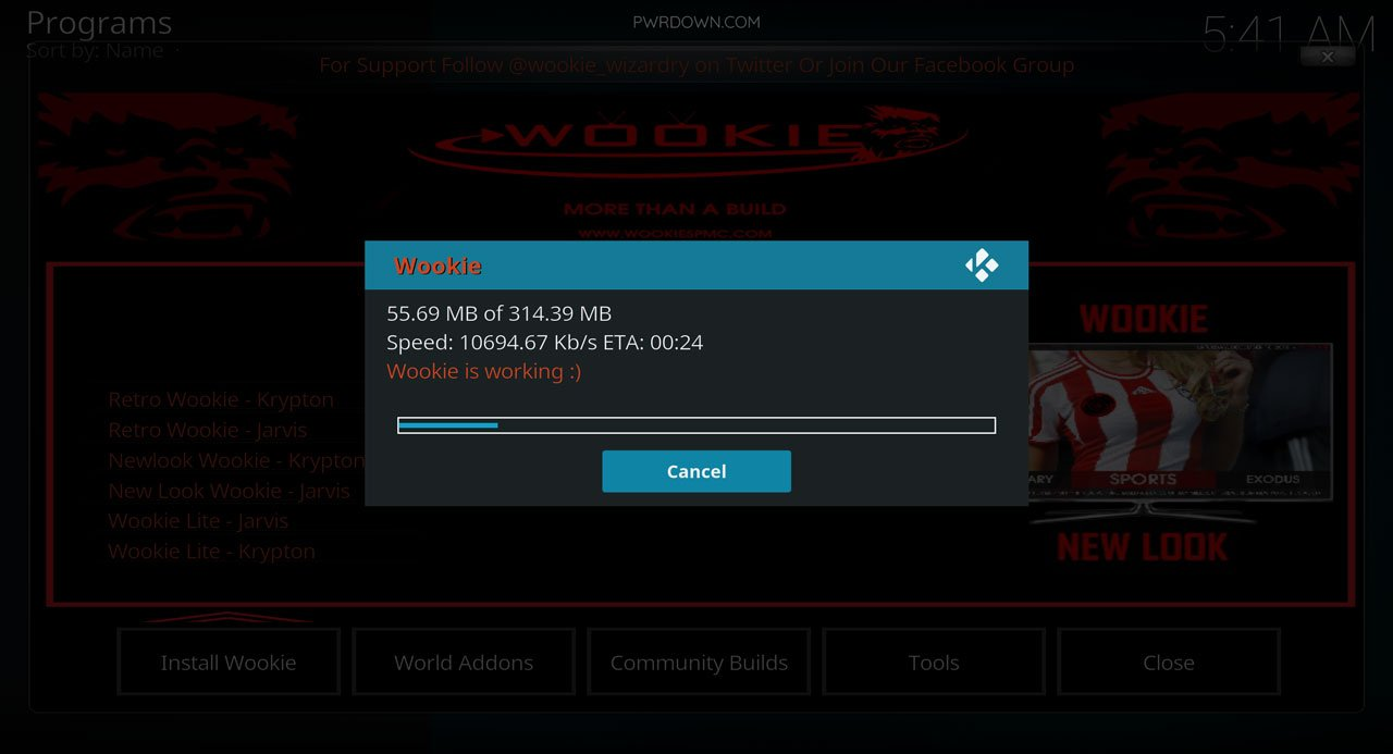 Kodi Wookie build installation part 11