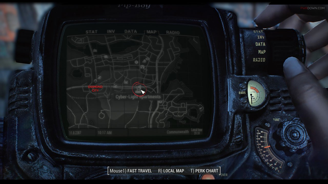 the location of the fallout 4 apartments on a pip boy