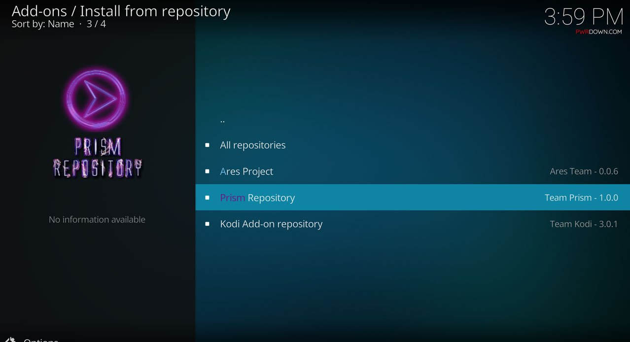 Select Prism Repository to install the Prism Build, and then select Program Add-Ons