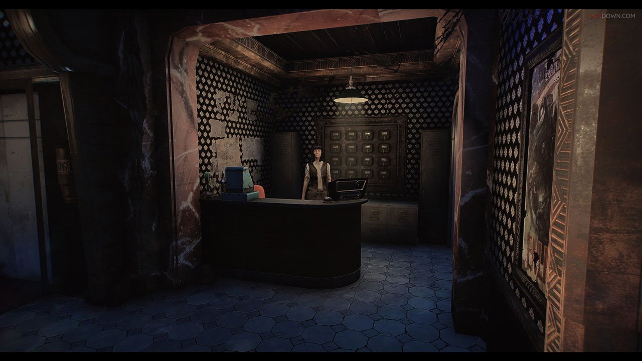 the receptionist cas in the lobby of the fallout 4 apartments