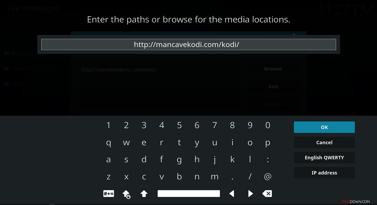 input the source url http://mancavekodi.com/kodi/