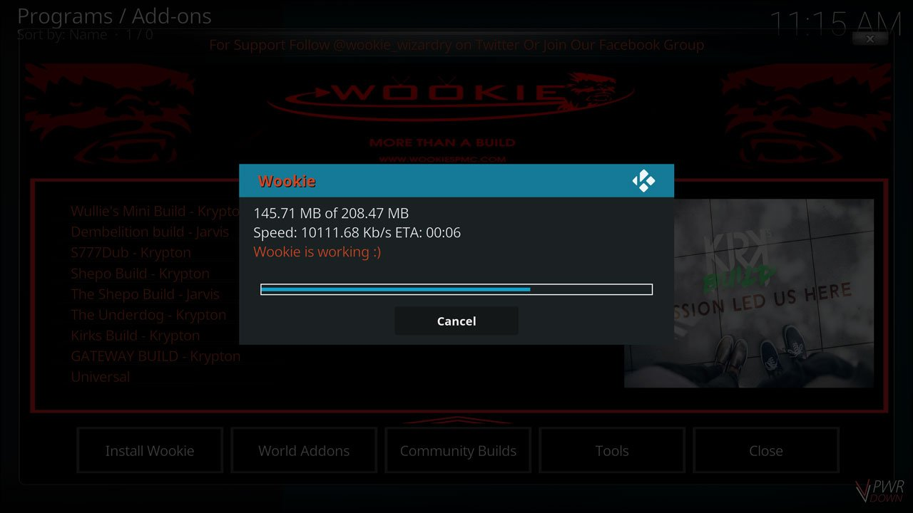 wait for it to download and restart kodi