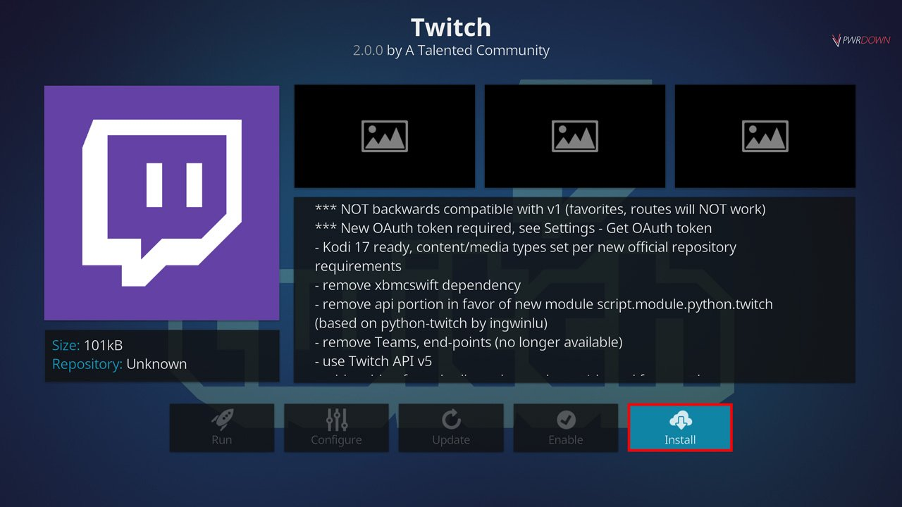 press install to finish installing the twitch add-on