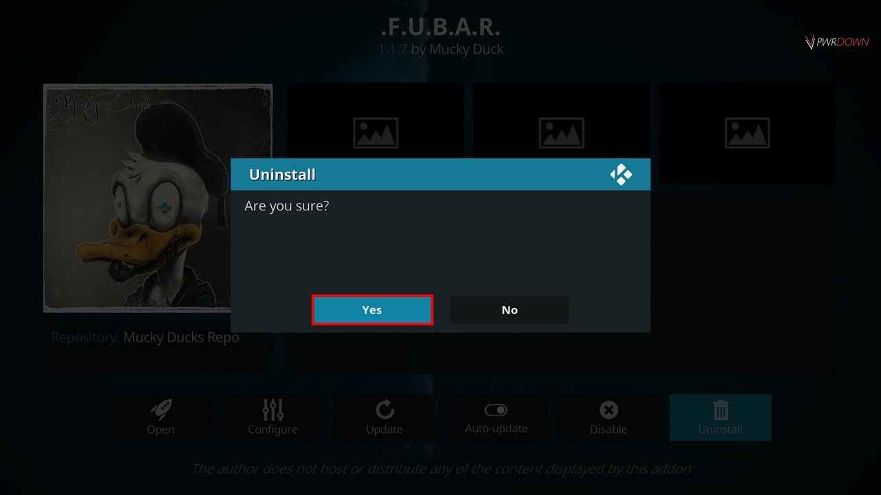 select yes on the confirmation to uninstall the add-on in kodi