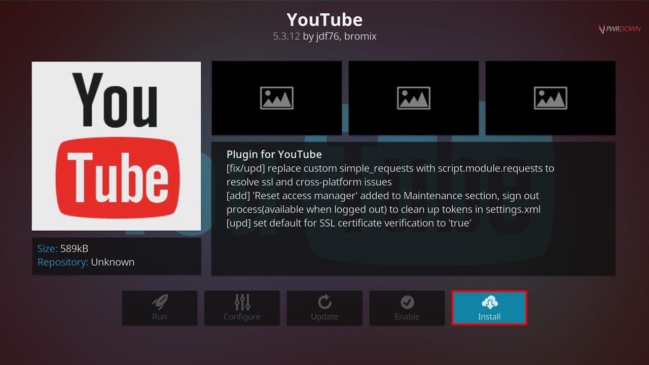 press install to finish installing the YouTube add-on for Kodi