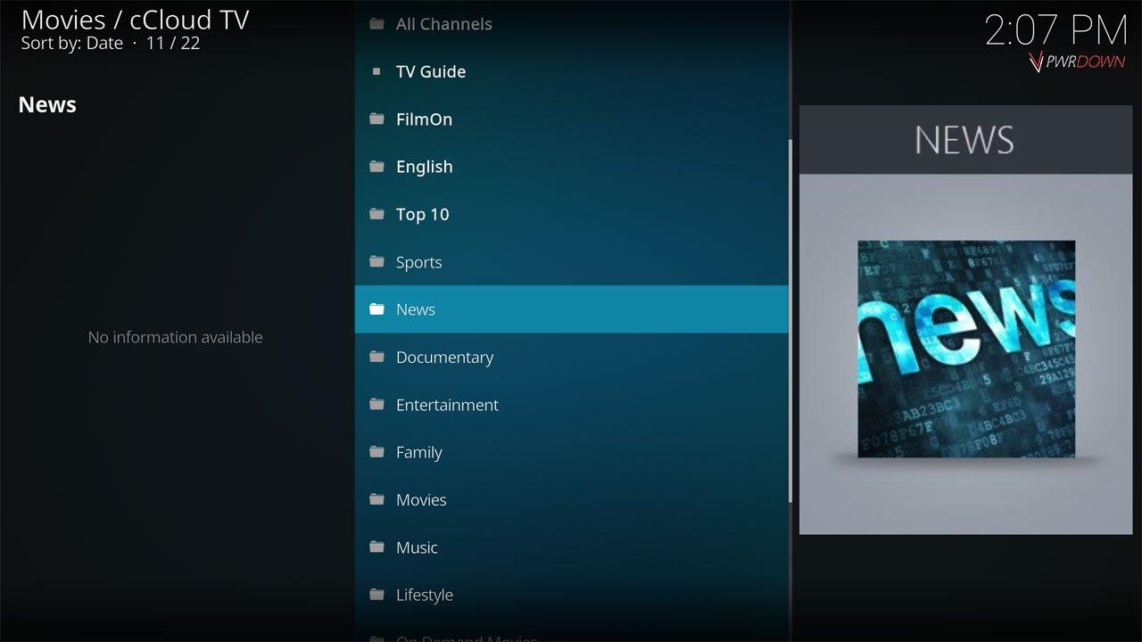 cCloud TV Live TV & IPTV Kodi Add-on